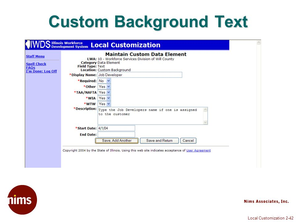 Local Customization 2-42 Custom Background Text
