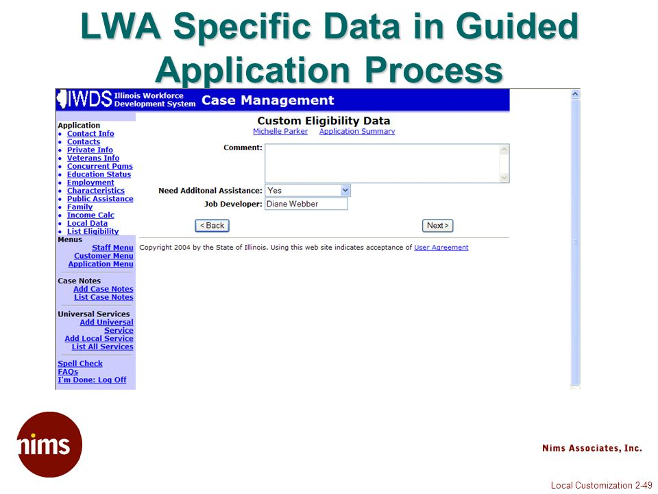 Local Customization 2-49 LWA Specific Data in Guided Application Process