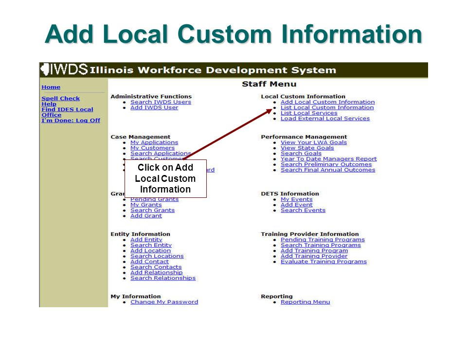Add Local Custom Information Click on Add Local Custom Information