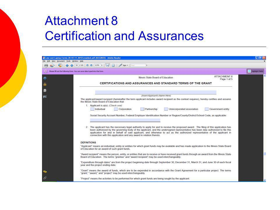Attachment 8 Certification and Assurances