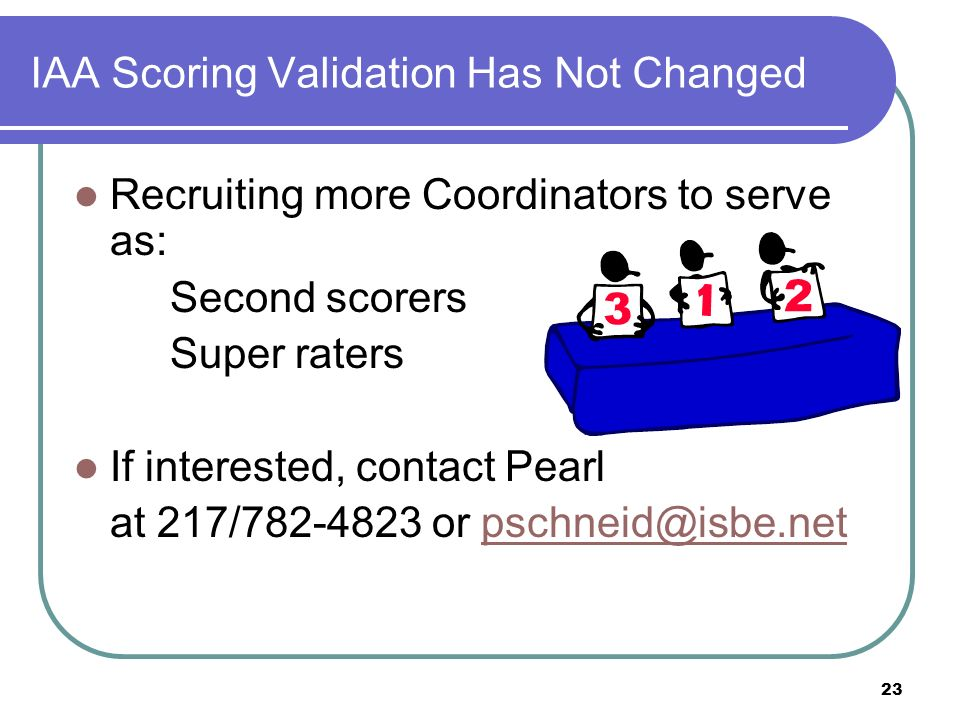 23 IAA Scoring Validation Has Not Changed Recruiting more Coordinators to serve as: Second scorers Super raters If interested, contact Pearl at 217/782-4823 or pschneid@isbe.netpschneid@isbe.net