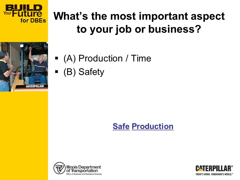for DBEs Whats the most important aspect to your job or business.
