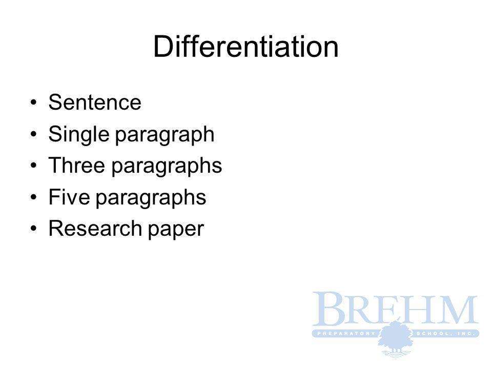 Differentiation Sentence Single paragraph Three paragraphs Five paragraphs Research paper