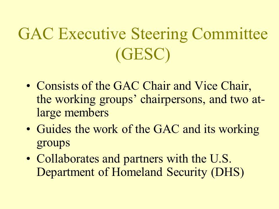 GAC Executive Steering Committee (GESC) Consists of the GAC Chair and Vice Chair, the working groups chairpersons, and two at- large members Guides the work of the GAC and its working groups Collaborates and partners with the U.S.
