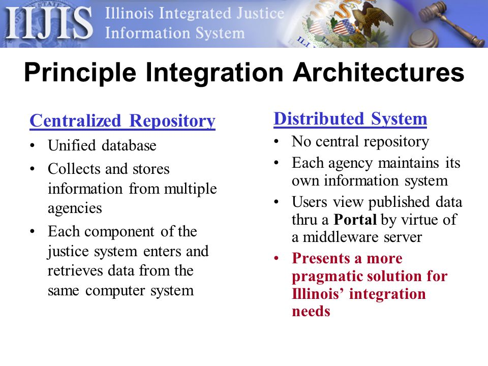 Principle Integration Architectures Centralized Repository Unified database Collects and stores information from multiple agencies Each component of the justice system enters and retrieves data from the same computer system Distributed System No central repository Each agency maintains its own information system Users view published data thru a Portal by virtue of a middleware server Presents a more pragmatic solution for Illinois integration needs