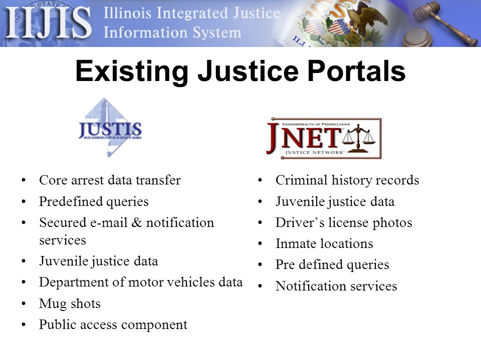 Existing Justice Portals Criminal history records Juvenile justice data Drivers license photos Inmate locations Pre defined queries Notification services Core arrest data transfer Predefined queries Secured  & notification services Juvenile justice data Department of motor vehicles data Mug shots Public access component