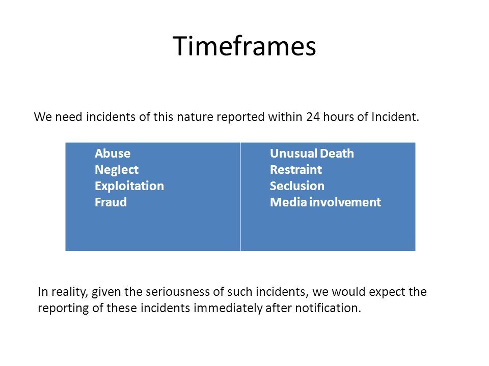 Introduction Timeframes Categories and Incident Types Procedure Walkthrough Questions…