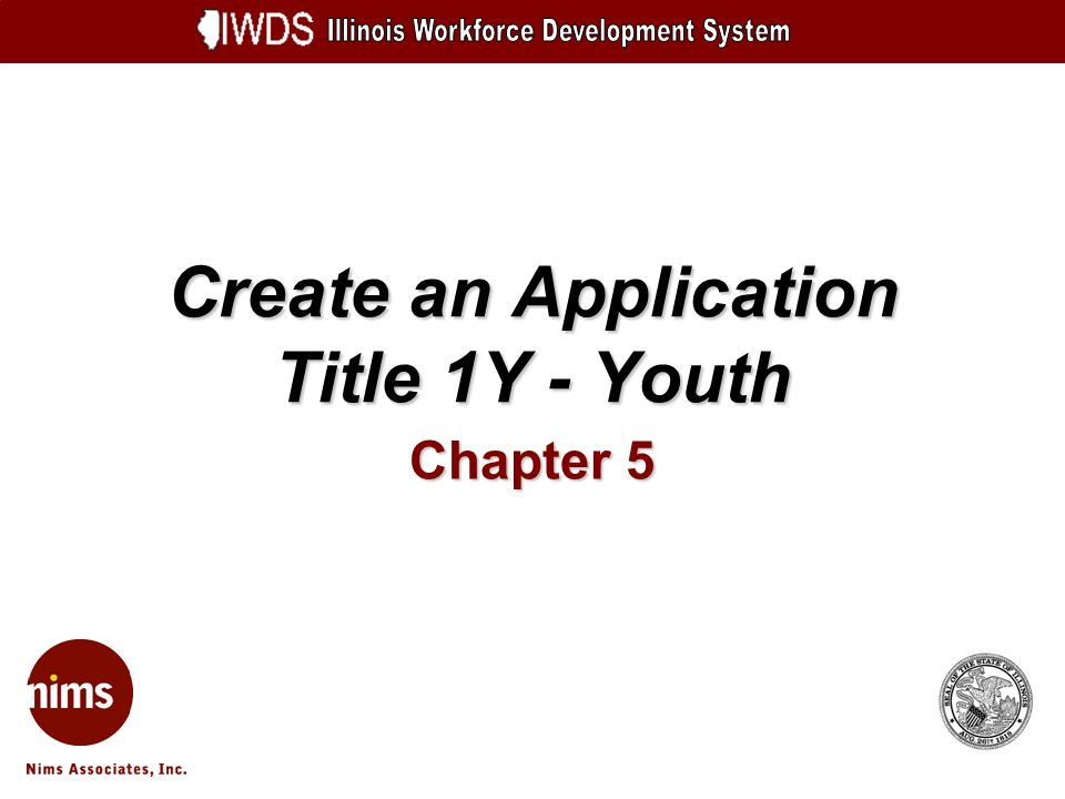Create an Application Title 1Y - Youth Chapter 5