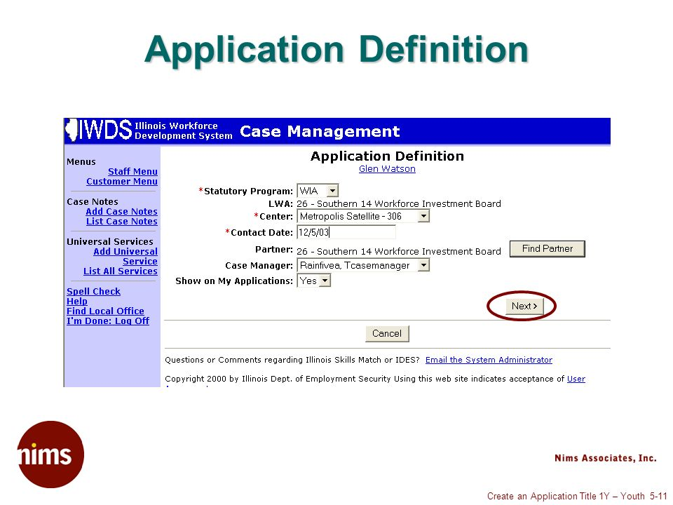 Create an Application Title 1Y – Youth 5-11 Application Definition