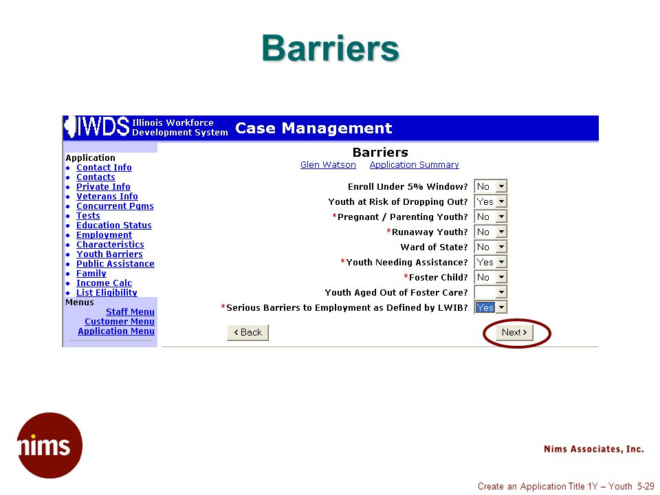 Create an Application Title 1Y – Youth 5-29 Barriers