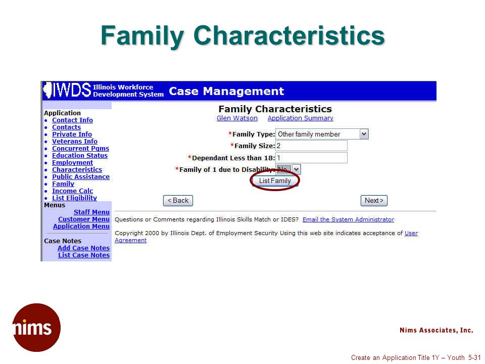 Create an Application Title 1Y – Youth 5-31 Family Characteristics