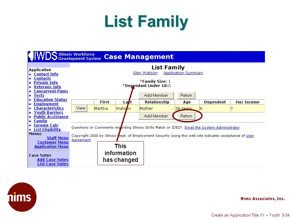 Create an Application Title 1Y – Youth 5-34 List Family This information has changed