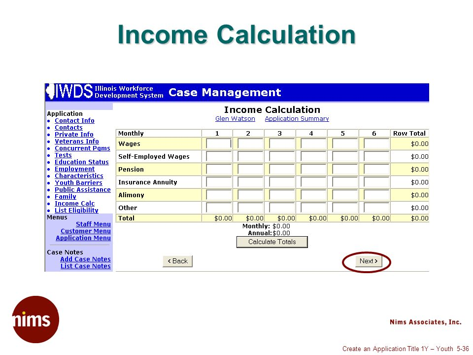 Create an Application Title 1Y – Youth 5-36 Income Calculation