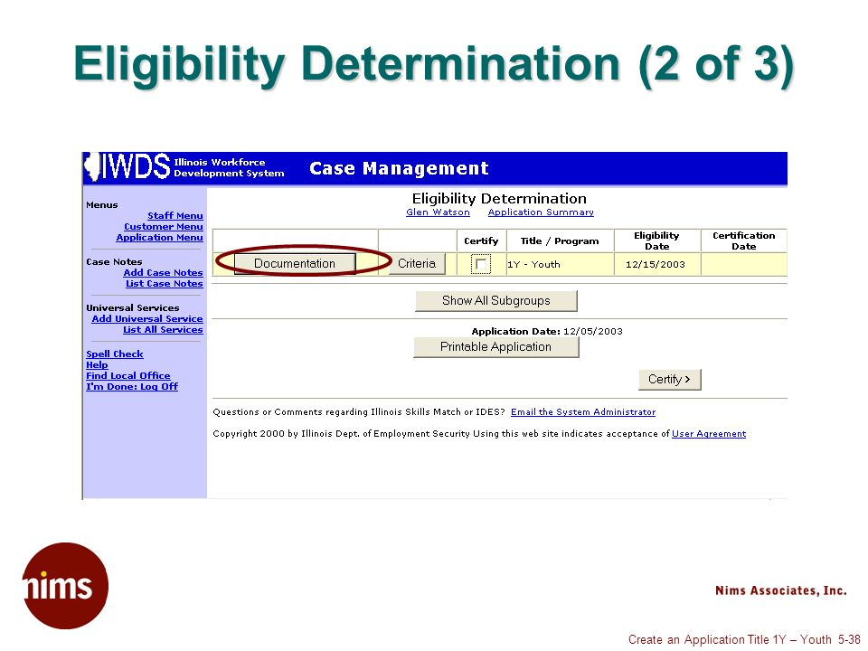 Create an Application Title 1Y – Youth 5-38 Eligibility Determination (2 of 3)