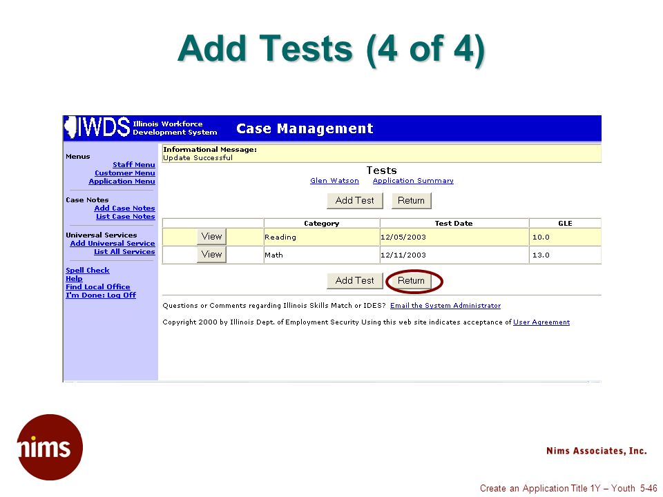 Create an Application Title 1Y – Youth 5-46 Add Tests (4 of 4)