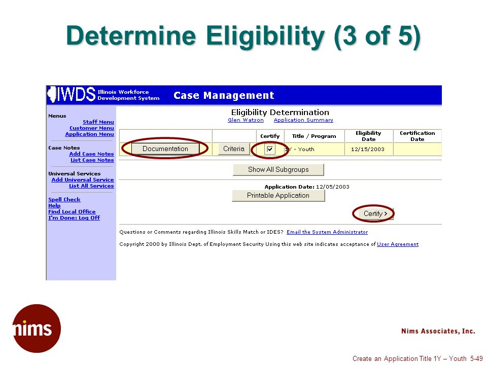 Create an Application Title 1Y – Youth 5-49 Determine Eligibility (3 of 5)
