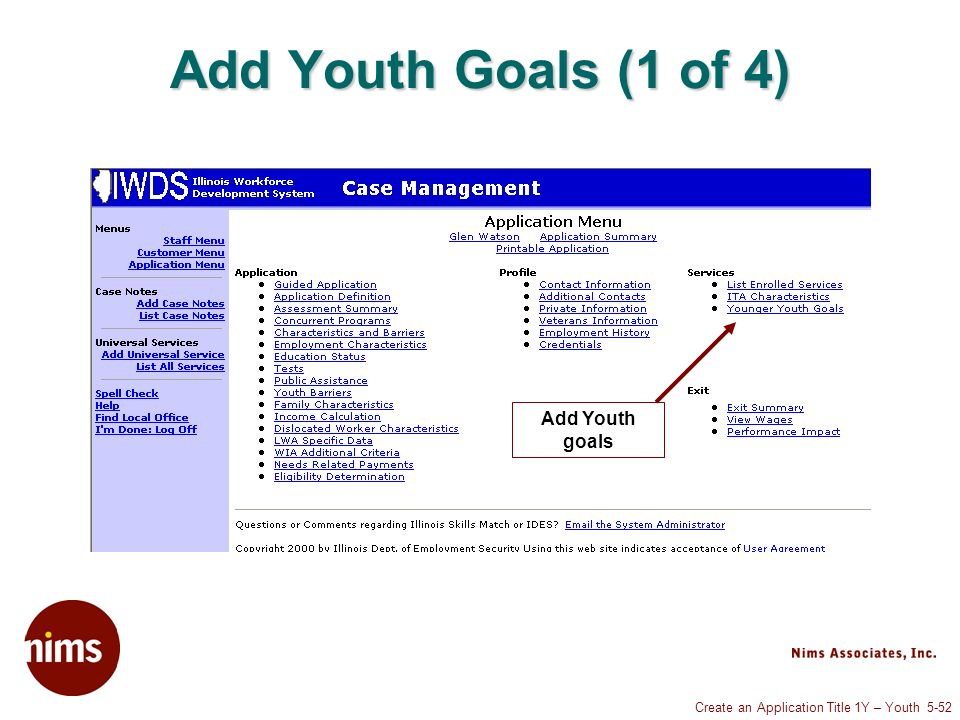 Create an Application Title 1Y – Youth 5-52 Add Youth Goals (1 of 4) Add Youth goals