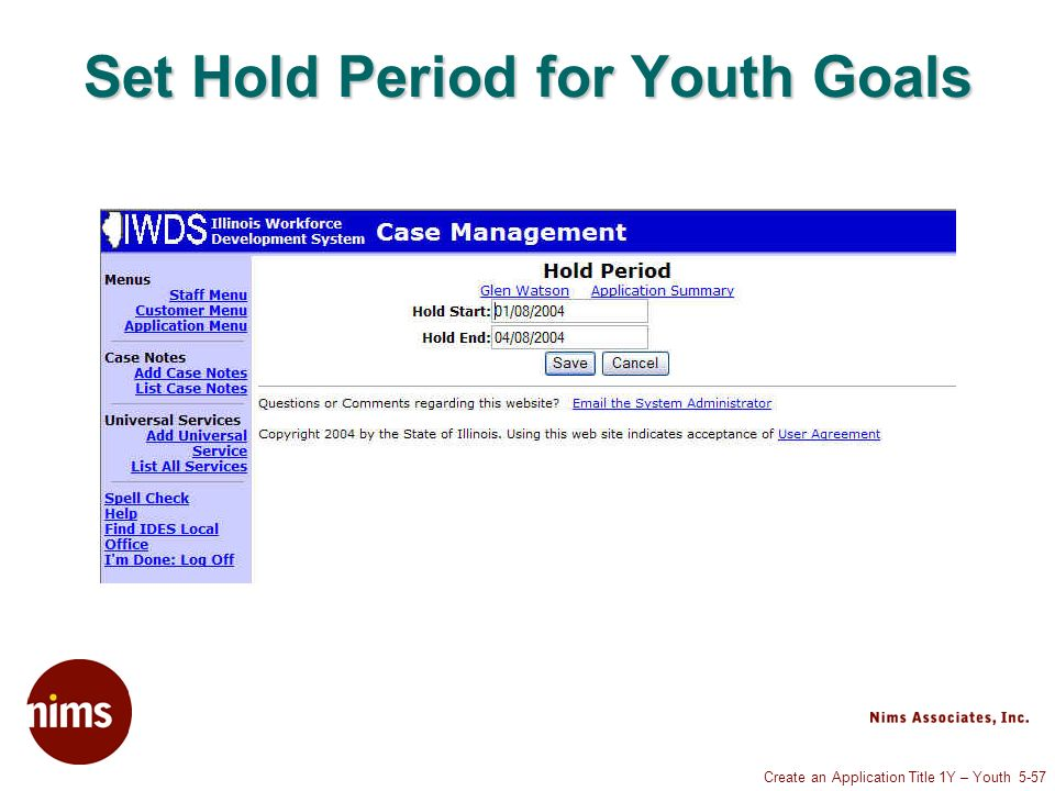 Create an Application Title 1Y – Youth 5-57 Set Hold Period for Youth Goals