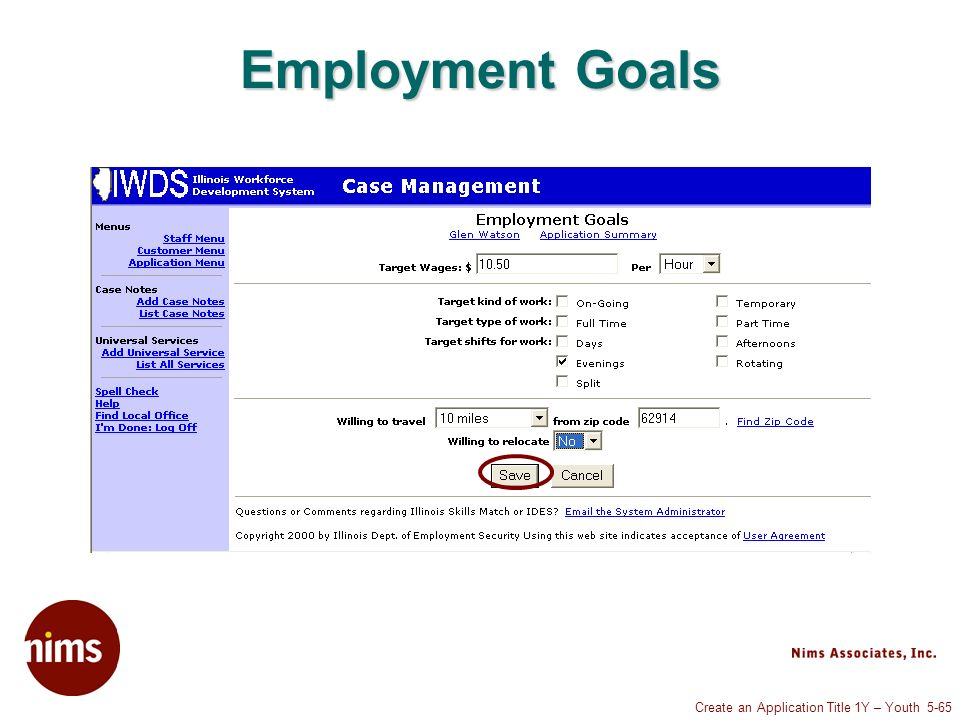 Create an Application Title 1Y – Youth 5-65 Employment Goals