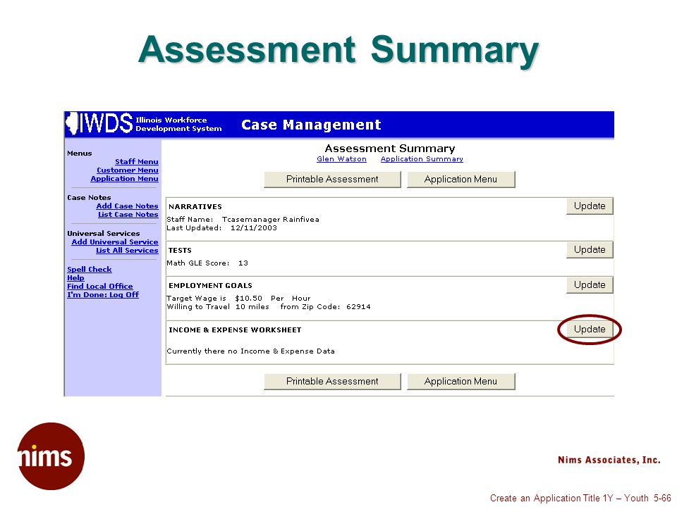 Create an Application Title 1Y – Youth 5-66 Assessment Summary