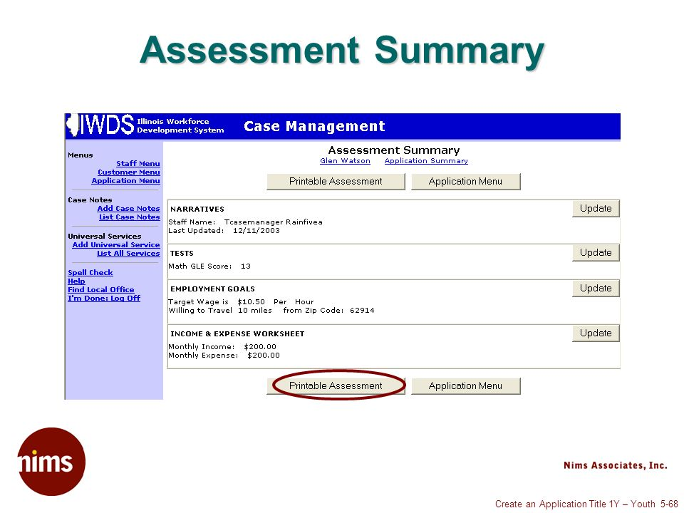 Create an Application Title 1Y – Youth 5-68 Assessment Summary