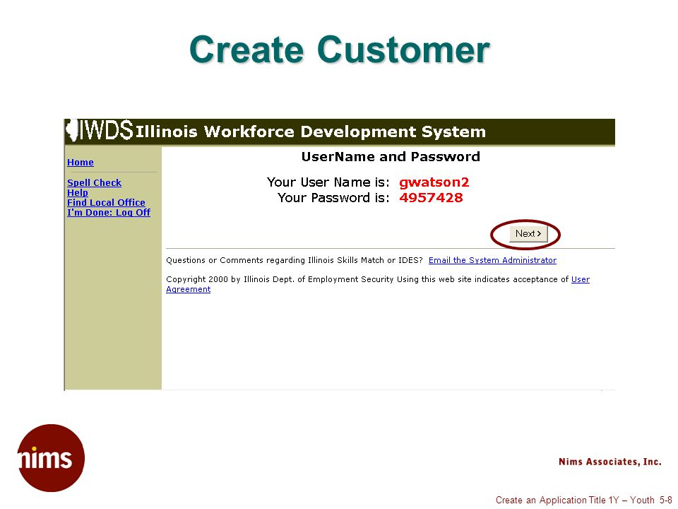 Create an Application Title 1Y – Youth 5-8 Create Customer