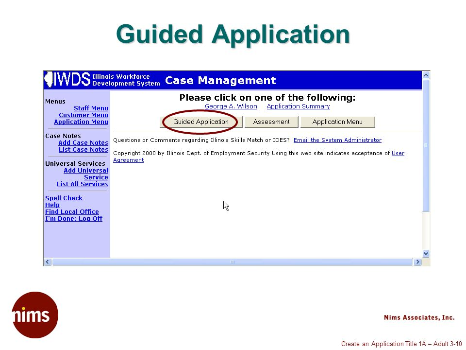 Create an Application Title 1A – Adult 3-10 Guided Application