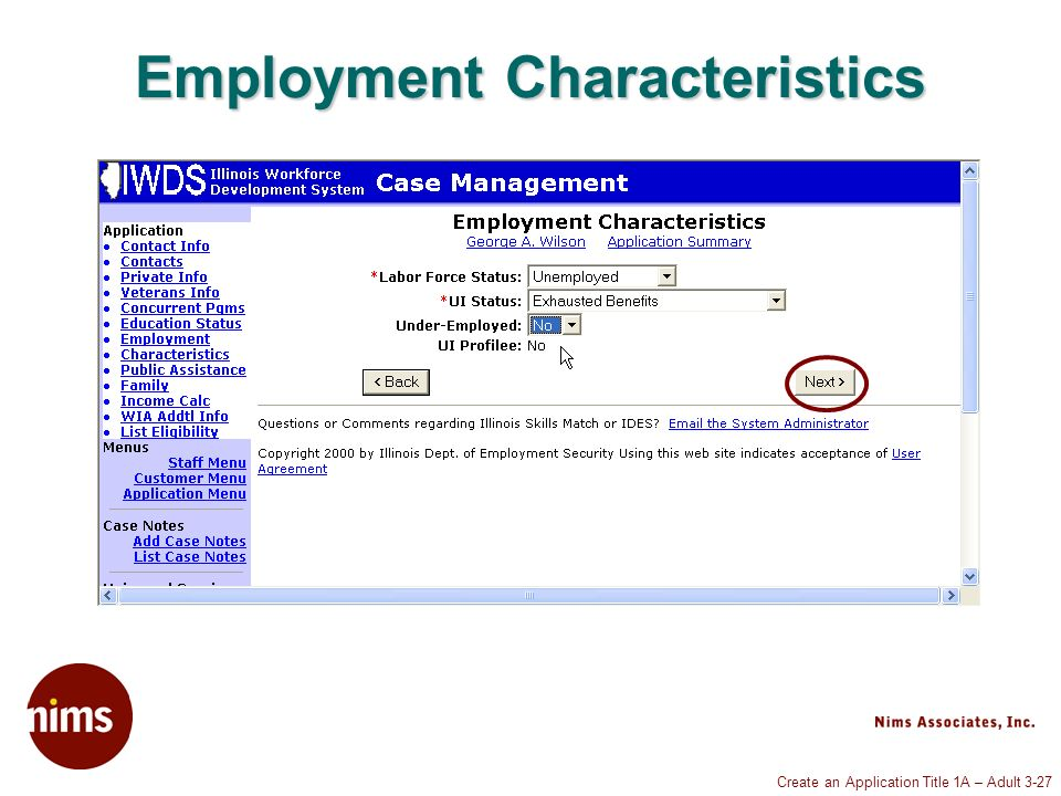 Create an Application Title 1A – Adult 3-27 Employment Characteristics