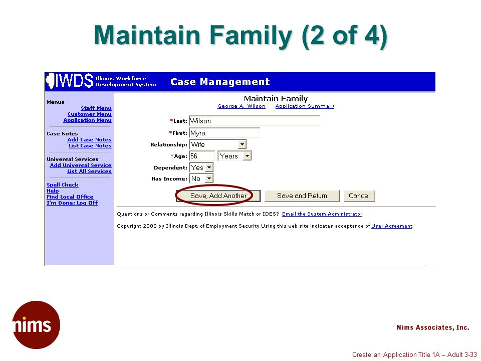 Create an Application Title 1A – Adult 3-33 Maintain Family (2 of 4)