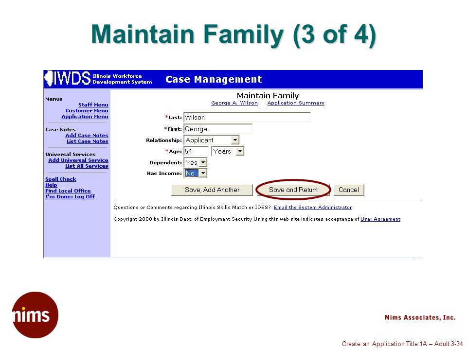 Create an Application Title 1A – Adult 3-34 Maintain Family (3 of 4)