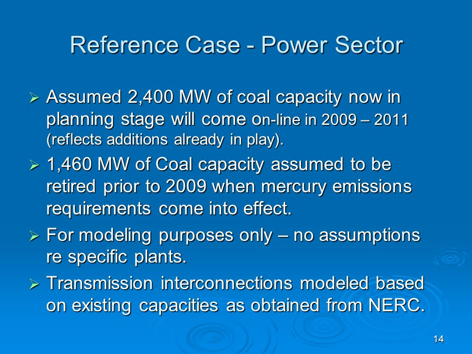 14 Reference Case - Power Sector Assumed 2,400 MW of coal capacity now in planning stage will come o n-line in 2009 – 2011 (reflects additions already in play).