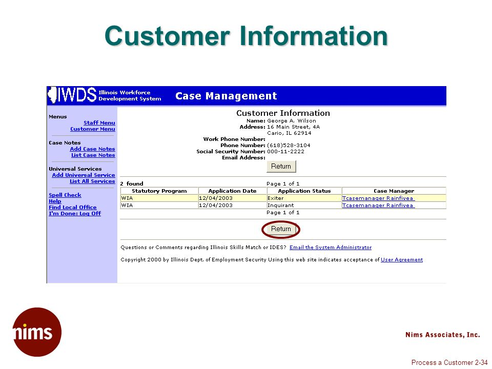 Process a Customer 2-34 Customer Information