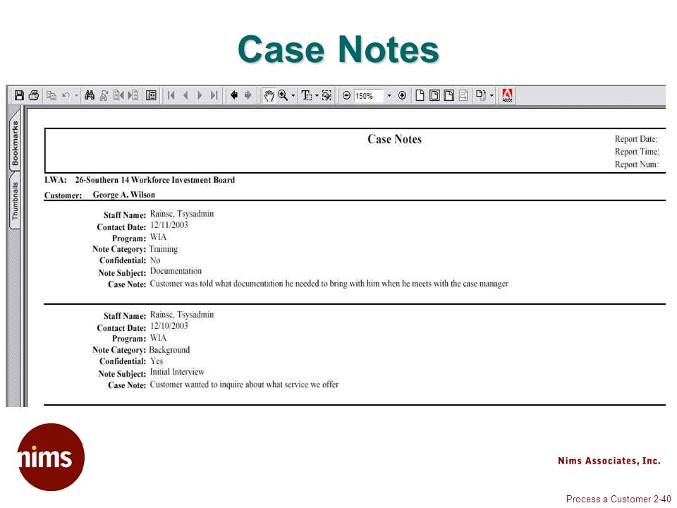 Process a Customer 2-40 Case Notes