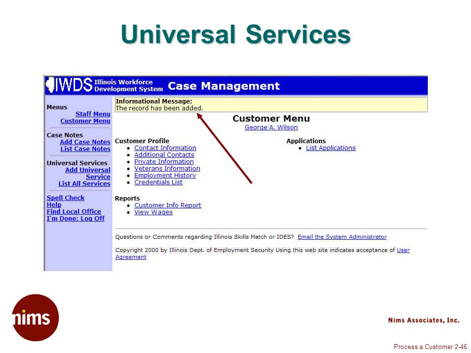 Process a Customer 2-46 Universal Services