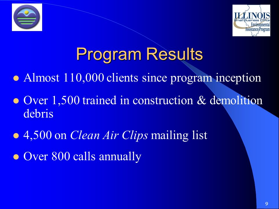 9 Program Results Almost 110,000 clients since program inception Over 1,500 trained in construction & demolition debris 4,500 on Clean Air Clips mailing list Over 800 calls annually
