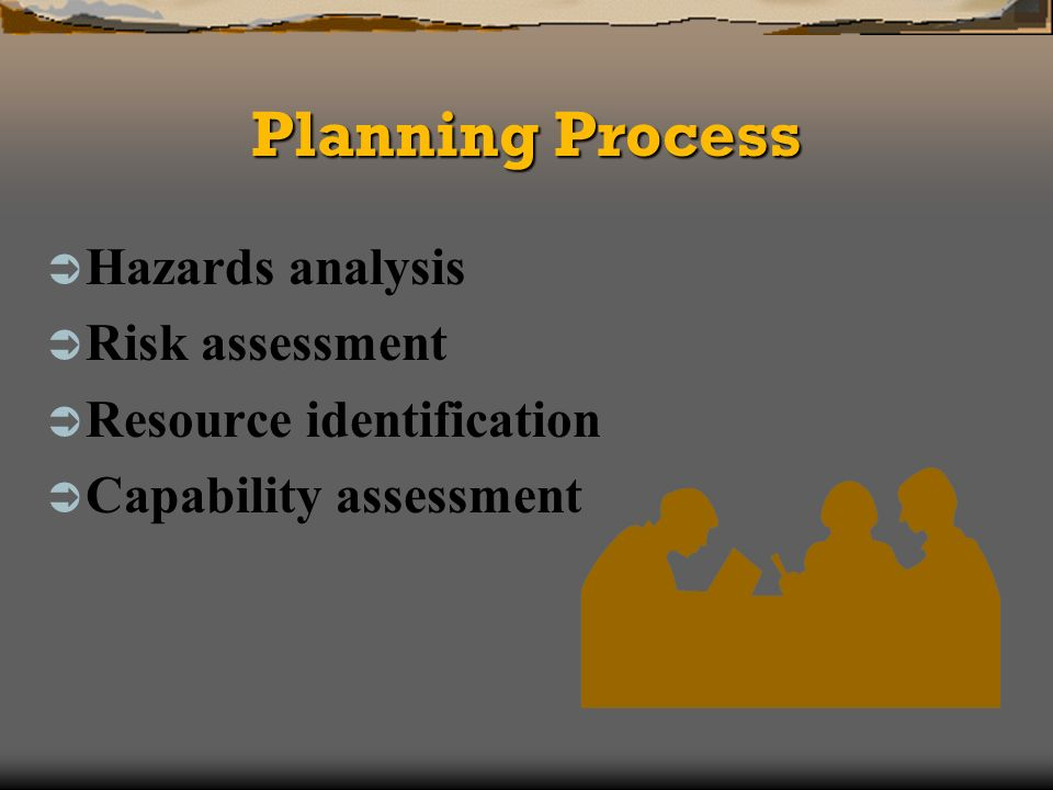 Planning Process Hazards analysis Risk assessment Resource identification Capability assessment