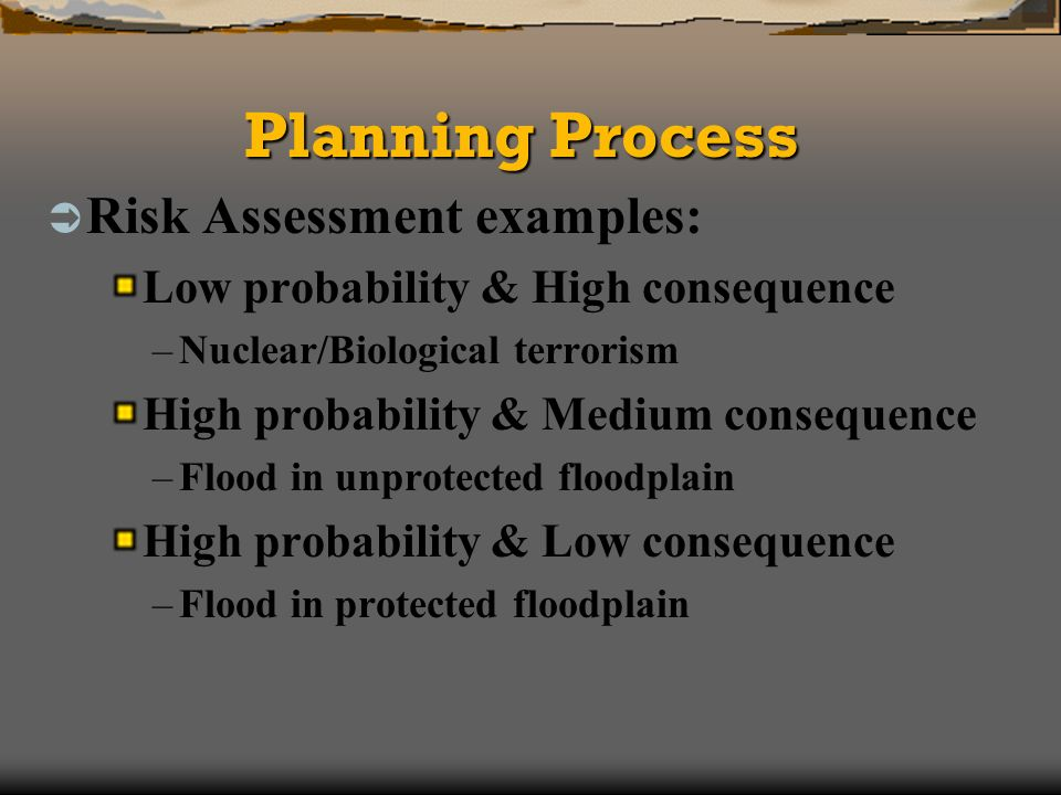 Planning Process Risk Assessment examples: Low probability & High consequence –Nuclear/Biological terrorism High probability & Medium consequence –Flood in unprotected floodplain High probability & Low consequence –Flood in protected floodplain