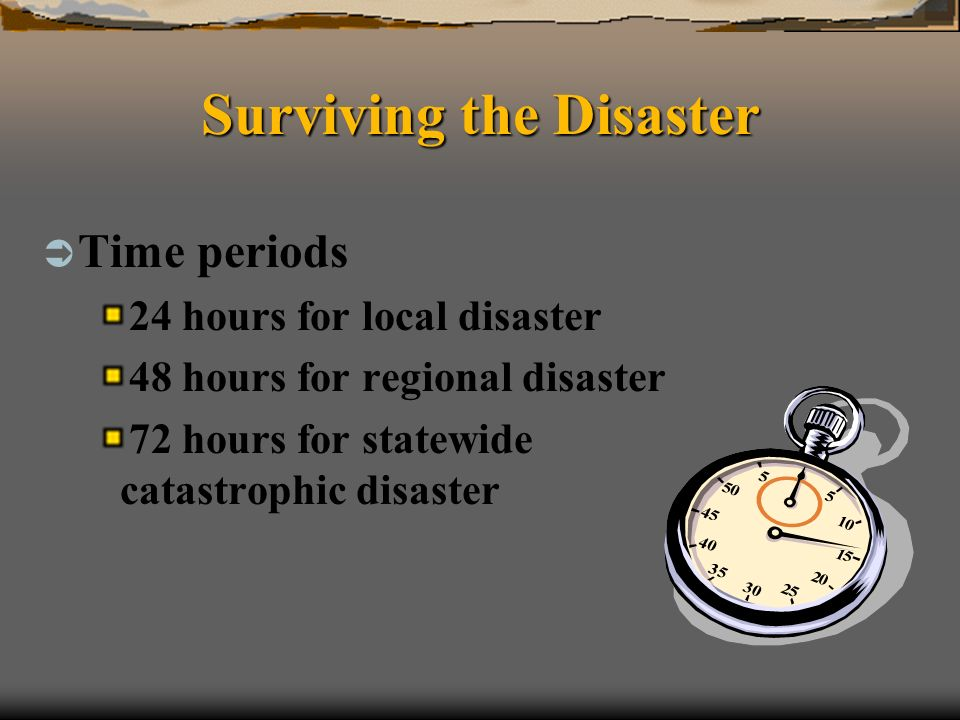 Surviving the Disaster Time periods 24 hours for local disaster 48 hours for regional disaster 72 hours for statewide catastrophic disaster