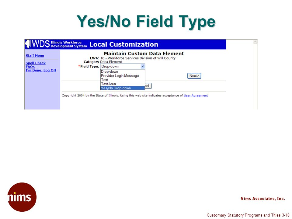Customary Statutory Programs and Titles 3-10 Yes/No Field Type