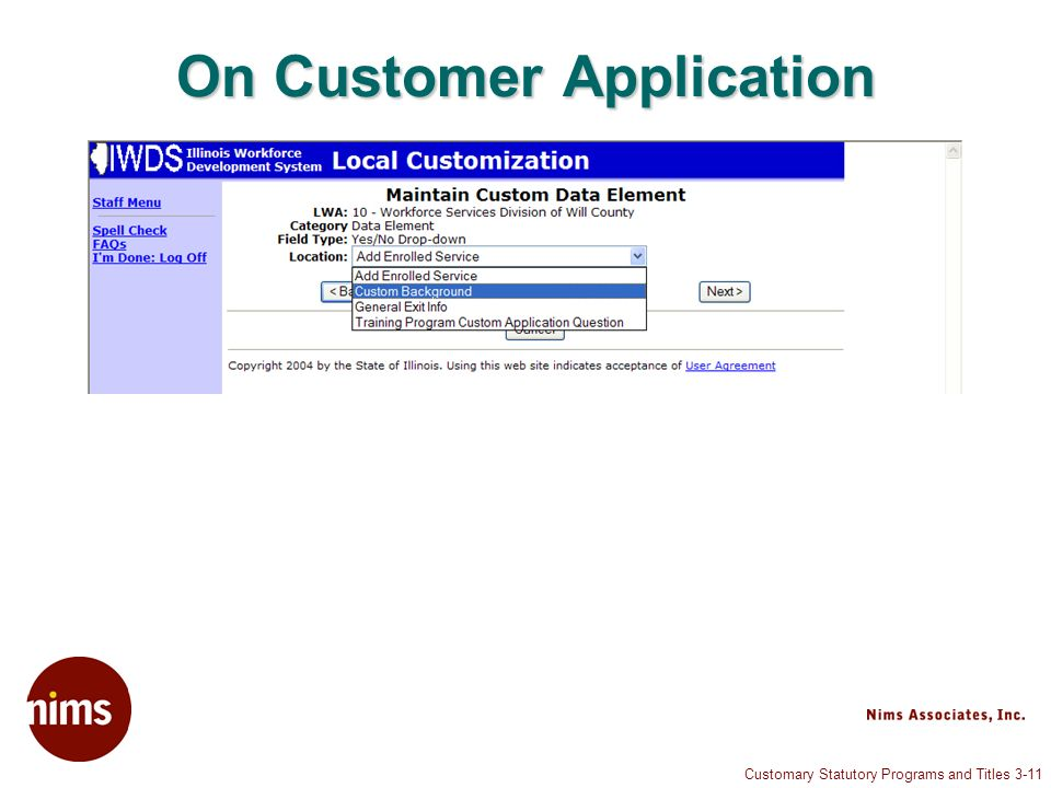 Customary Statutory Programs and Titles 3-11 On Customer Application