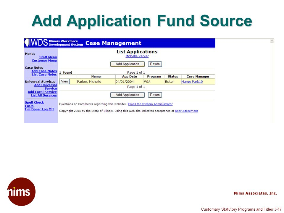 Customary Statutory Programs and Titles 3-17 Add Application Fund Source