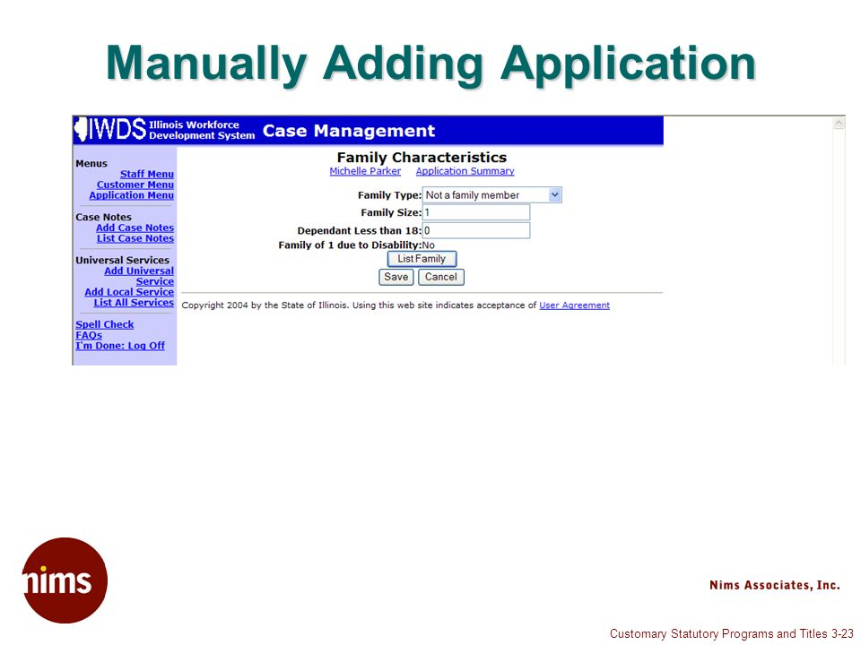 Customary Statutory Programs and Titles 3-23 Manually Adding Application