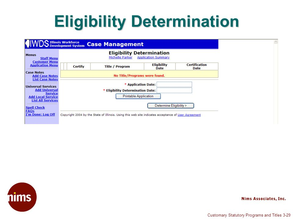 Customary Statutory Programs and Titles 3-29 Eligibility Determination