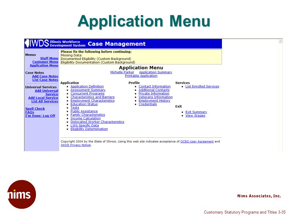 Customary Statutory Programs and Titles 3-35 Application Menu