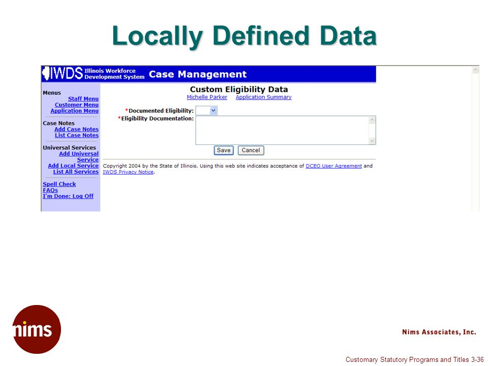 Customary Statutory Programs and Titles 3-36 Locally Defined Data