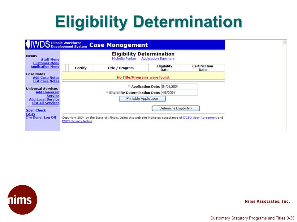 Customary Statutory Programs and Titles 3-39 Eligibility Determination