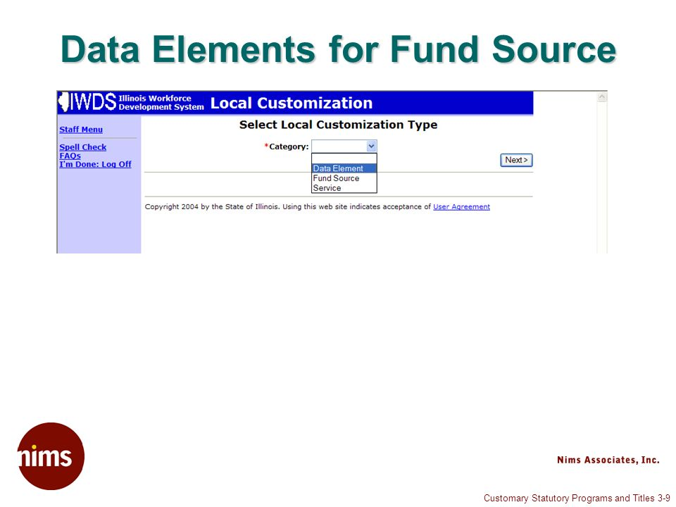 Customary Statutory Programs and Titles 3-9 Data Elements for Fund Source