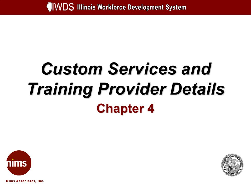 Custom Services and Training Provider Details Chapter 4