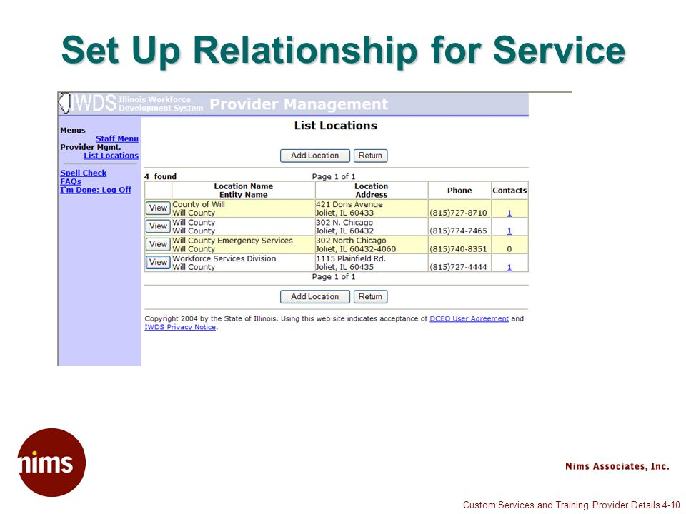 Custom Services and Training Provider Details 4-10 Set Up Relationship for Service