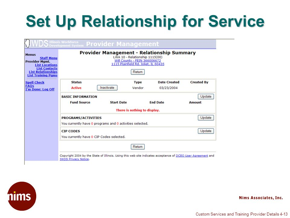 Custom Services and Training Provider Details 4-13 Set Up Relationship for Service